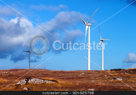 Wind Turbines  stock photo, Wind Turbines in a bleak rural setting by Michael O'Connell