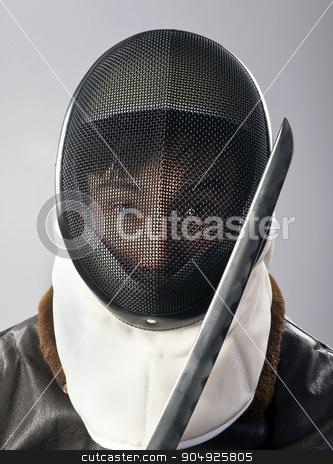 Ninja Warrior. stock photo, Ninja warrior with sharp samurai blade. by WScott