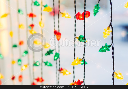 Colorful lights abstract background stock photo, Garland blurred Christmas colorful lights background by sunapple