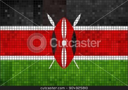 Flag of Kenya stock vector clipart, Flag of Kenya - Illustration,  Abstract Mosaic The Kenya Flag,  Grunge mosaic Flag of Kenya,  The Kenyan flag,  Abstract grunge mosaic vector by Jugoslav