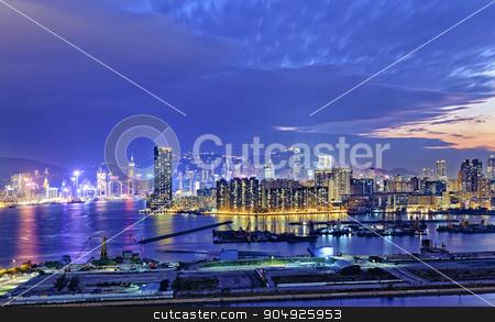 Hong Kong city sunset stock photo, Hong Kong city sunset view from kowloon side by Keng po Leung