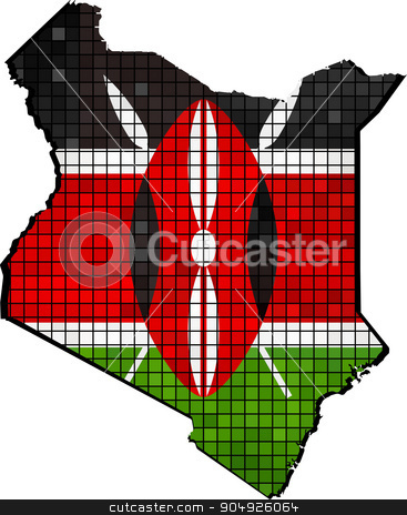 Kenya map with flag inside stock vector clipart, Kenya map with flag inside, Kenya map grunge mosaic, Map of Kenya in mosaic,  Abstract grunge mosaic vector by Jugoslav