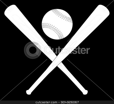 Bat And Ball stock vector clipart, Baseball with a pair of crossed baseball bats by Kotto