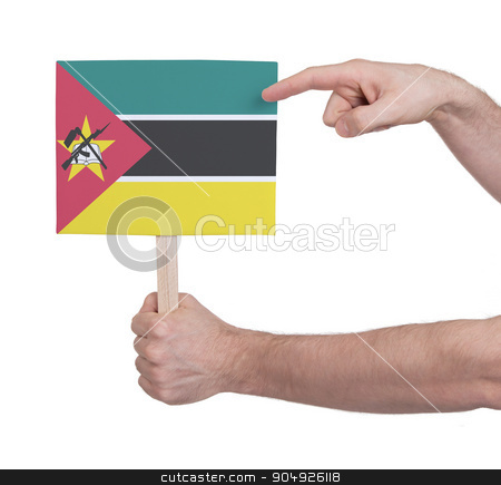 Hand holding small card - Flag of Mozambique stock photo, Hand holding small card, isolated on white - Flag of Mozambique by michaklootwijk