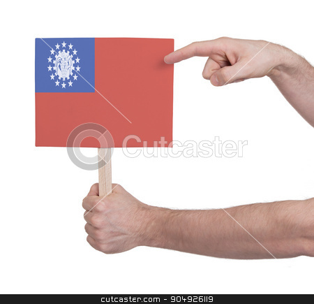 Hand holding small card - Flag of Myanmar stock photo, Hand holding small card, isolated on white - Flag of Myanmar by michaklootwijk