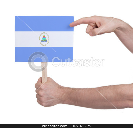Hand holding small card - Flag of Nicaragua stock photo, Hand holding small card, isolated on white - Flag of Nicaragua by michaklootwijk