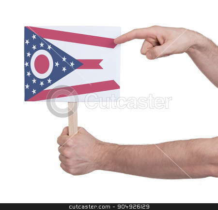 Hand holding small card - Flag of Ohio stock photo, Hand holding small card, isolated on white - Flag of Ohio by michaklootwijk