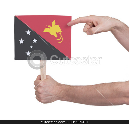 Hand holding small card - Flag of Papua New Guinea stock photo, Hand holding small card, isolated on white - Flag of Papua New Guinea by michaklootwijk