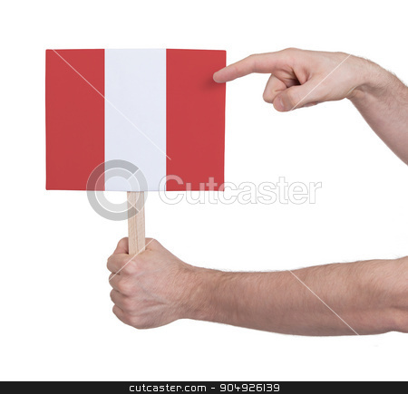 Hand holding small card - Flag of Peru stock photo, Hand holding small card, isolated on white - Flag of Peru by michaklootwijk