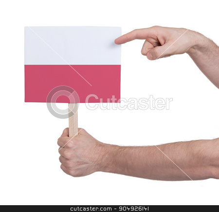 Hand holding small card - Flag of Poland stock photo, Hand holding small card, isolated on white - Flag of Poland by michaklootwijk