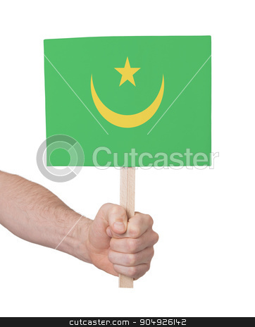 Hand holding small card - Flag of Mauritania stock photo, Hand holding small card, isolated on white - Flag of Mauritania by michaklootwijk