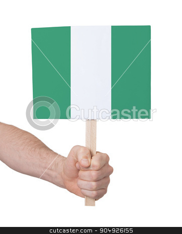 Hand holding small card - Flag of Nigeria stock photo, Hand holding small card, isolated on white - Flag of Nigeria by michaklootwijk