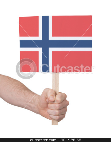 Hand holding small card - Flag of Norway stock photo, Hand holding small card, isolated on white - Flag of Norway by michaklootwijk
