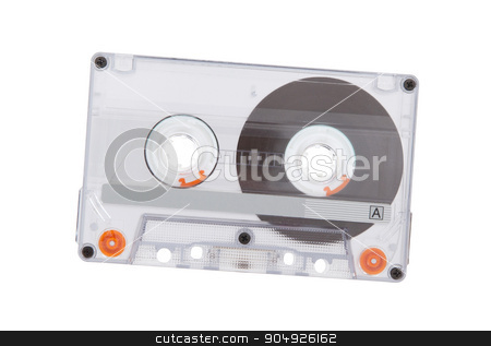 Vintage audio cassette tape stock photo, Vintage audio cassette tape, isolated on white background by michaklootwijk