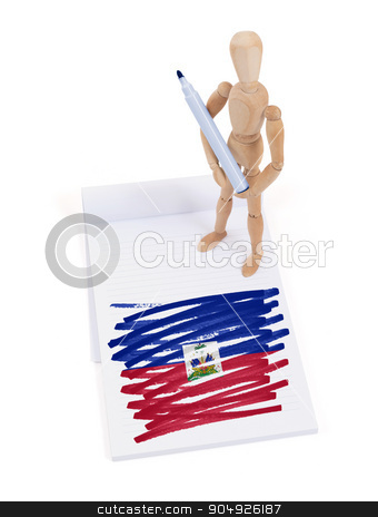 Wooden mannequin made a drawing - Haiti stock photo, Wooden mannequin made a drawing of a flag - Haiti by michaklootwijk