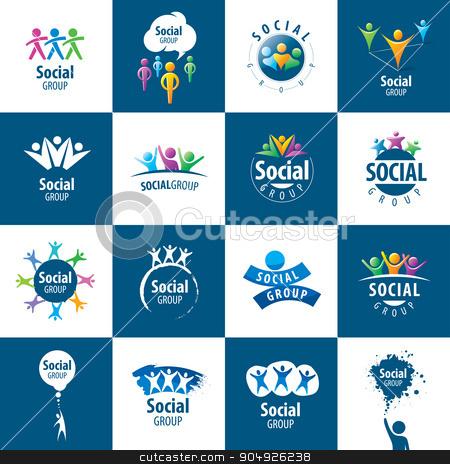 Social Group logos stock vector clipart, set of abstract vector logos people to social groups by Aleksey Butenkov