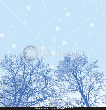 Snowy winter forest with trees stock vector clipart, Vector illustration of snowy winter forest with trees by ElemenTxD