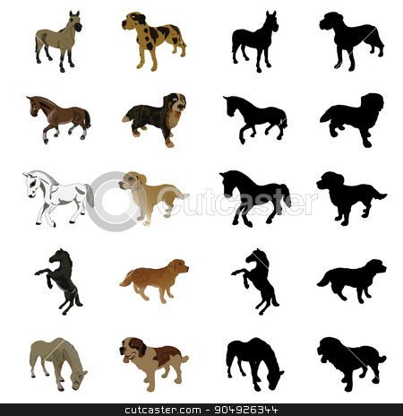 Dogs and horses stock vector clipart, Dogs and horses by ElemenTxD