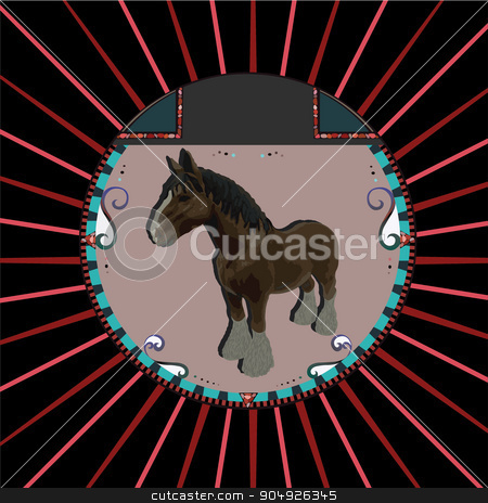 Abstract Brown horse in circle stock vector clipart, Abstract Brown horse in circle by ElemenTxD