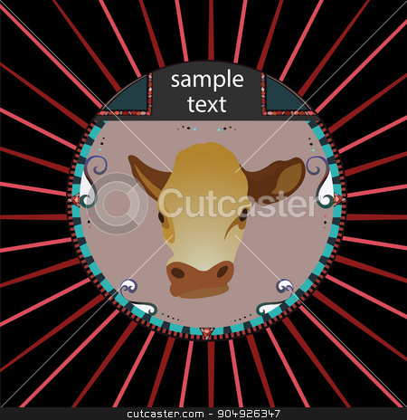 Cow head stock vector clipart, Abstract cow head in circle by ElemenTxD