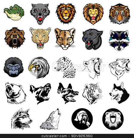 Illustrated set of wild animals and dogs stock vector clipart, Illustrated set of wild animals and dogs by ElemenTxD