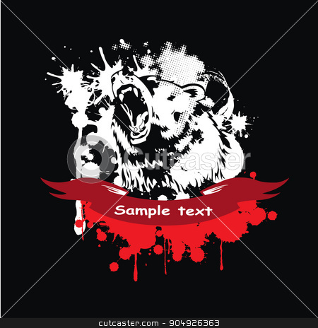 Wild grizzly stock vector clipart, Wild grizzly in a frame with a red ribbon by ElemenTxD