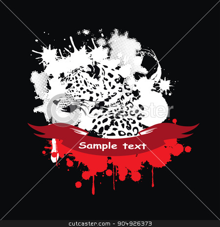 Leopard in a frame stock vector clipart, Leopard in a frame with a red ribbon by ElemenTxD