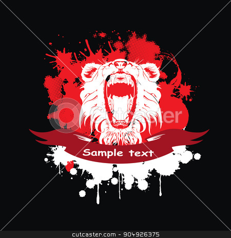Lion in a frame stock vector clipart, Lion in a frame with a red ribbon by ElemenTxD