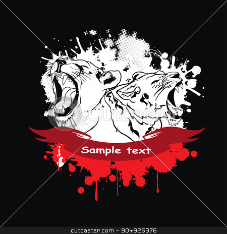 Lioness in a frame stock vector clipart, Lioness in a frame by ElemenTxD