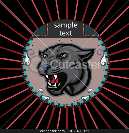 Portrait of a panther stock vector clipart, Portrait of a panther in a circle on a background of red rays by ElemenTxD