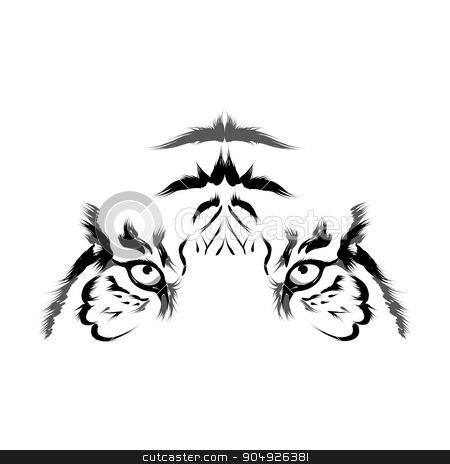 Tiger (head outline vector stock vector clipart, Tiger (head outline vector by ElemenTxD
