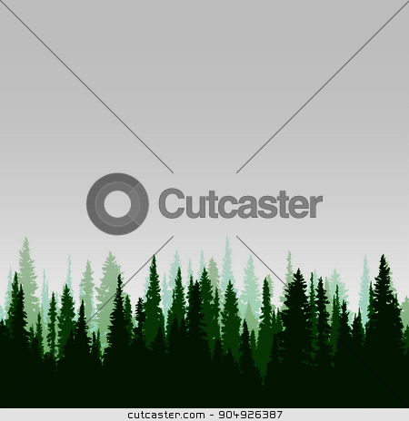 Panorama of wild coniferous forest stock vector clipart, Vector panorama of wild coniferous forest with pines by ElemenTxD