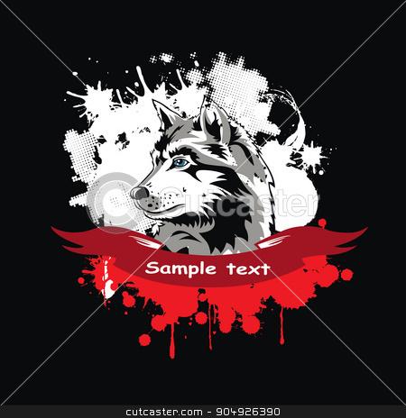 Vector head of a dog Siberian Husky stock vector clipart, Vector head of a dog Siberian Husky in a frame by ElemenTxD