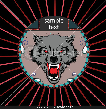 Portrait of a wolf stock vector clipart, Portrait of a wolf in a circle on a background of red rays by ElemenTxD