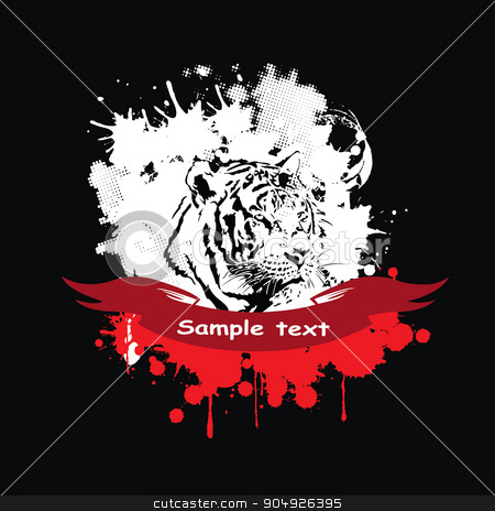 White tiger in a frame stock vector clipart, White tiger in a frame with a red ribbone by ElemenTxD