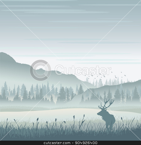 Wild moose in mountains stock vector clipart, Vector wild moose in mountains by ElemenTxD