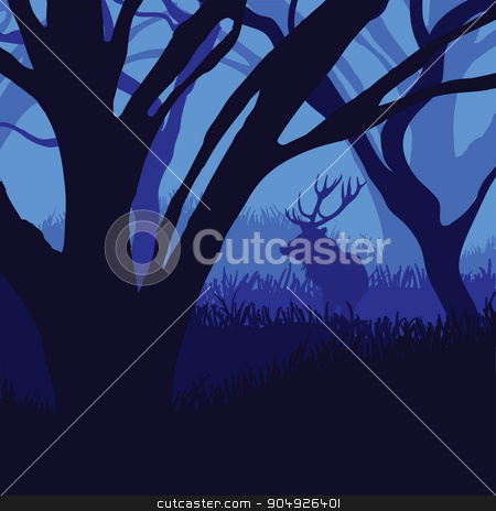 Silhouette deer in the forest stock vector clipart, Silhouette deer in the forest in moonlight by ElemenTxD