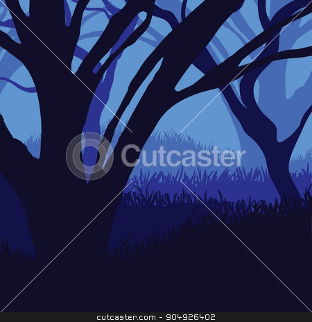 Silhouette of the forest stock vector clipart, Silhouette of the forest in moonlight by ElemenTxD