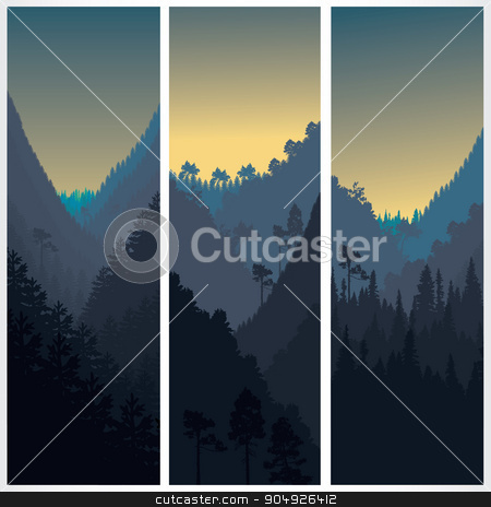 Silhouette of the forest stock vector clipart, Silhouette of the forest in morning by ElemenTxD