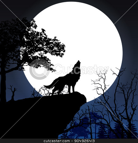 Howling to the full moon stock vector clipart, Wolf in silhouette howling to the full moon by ElemenTxD