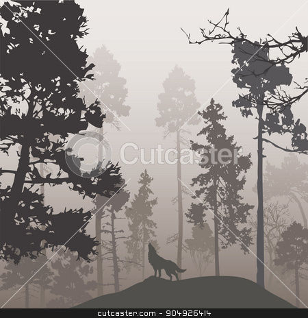 Pine forest and the wolf stock vector clipart, Natural background with pine forest and the wolf, brown tones by ElemenTxD