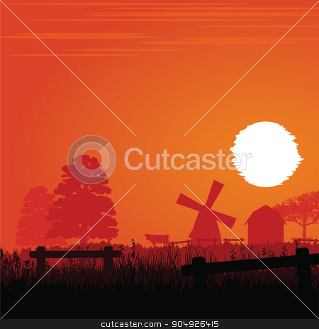 Farm in the sunset stock vector clipart, Farm with mills silhouette in the sunset by ElemenTxD