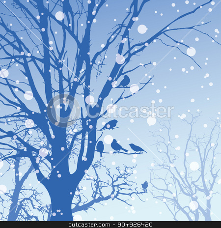 Panorama of wild coniferous winter forest stock vector clipart, Vector panorama of wild coniferous winter forest with pines by ElemenTxD