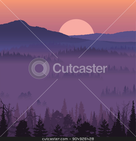 Natural landscape with sunset stock vector clipart, Natural landscape with sunset. Vector illustration by ElemenTxD