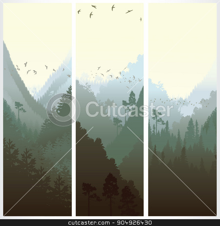 Vertical banners with the forest stock vector clipart, Set of vertical banners with the forest in morning by ElemenTxD