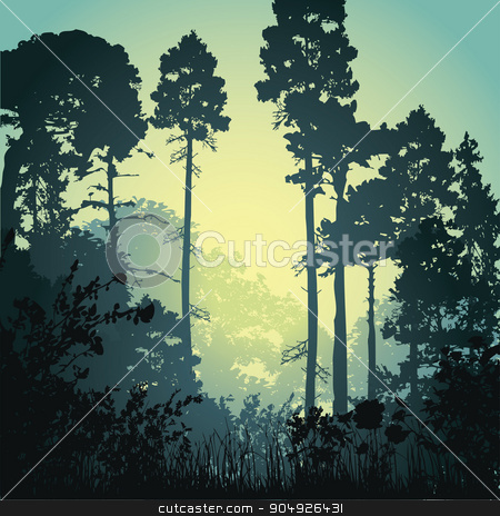 Illustration forest in the morning stock vector clipart, Vector illustration with forest in the morning by ElemenTxD