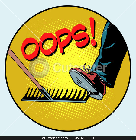 To step on a rake. Failure and problems pop art retro style stock vector clipart, To step on a rake. Failure and problems pop art retro style. The business concept is a bad way, bad decision by studiostoks