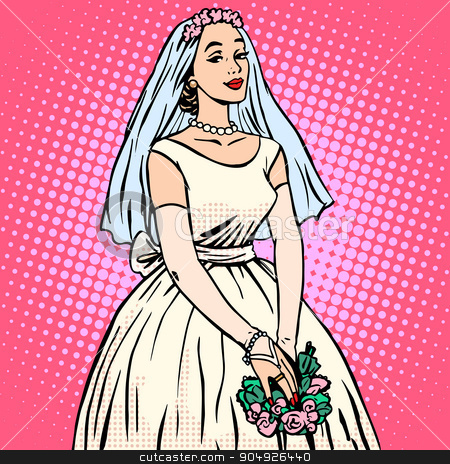 Bride in white wedding dress pop art retro style stock vector clipart, Bride in white wedding dress pop art retro style. Beautiful woman. Tradition and celebration. Love, marriage and romance by studiostoks