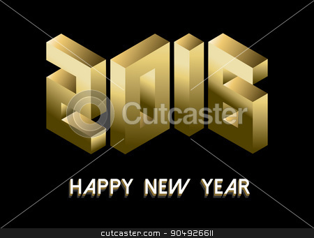 New Year 2016 gold isometric 3d greeting card stock vector clipart, Happy New Year 2016 greeting card banner design with gold isometric font text. EPS10 vector. by Cienpies Design