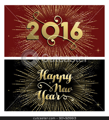 New Year 2016 gold firework banner card set stock vector clipart, Happy New Year 2016 banner greeting card set with gold text and firework explosion. EPS10 vector. by Cienpies Design